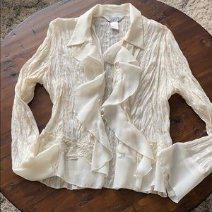 Allison Taylor size L gorgeous cream color blouse